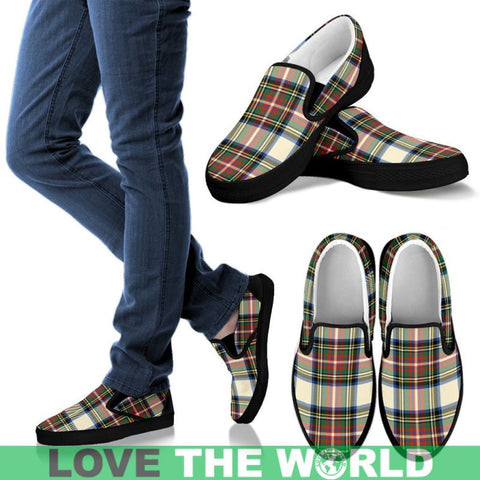 Image of Stewart Dress Ancient Tartan Slip Ons Womens Slip Ons - White / Us6 (Eu36)