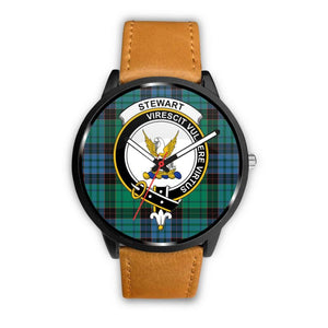 Stewart Old Ancient Clan Badge Tartan Leather/steel Watch - NN5 Mens 40Mm / Brown Leather-Steel