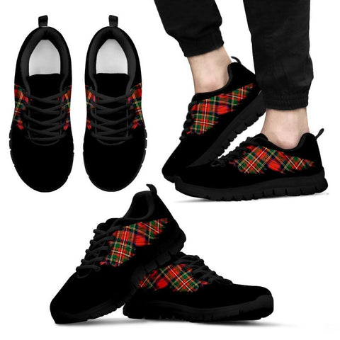 Stewart Royal Modern Tartan Wings Sneakers 07 Mens Sneakers - Black / Us5 (Eu38)