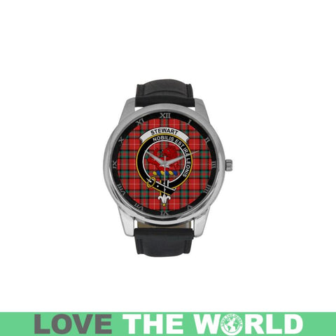 Stewart (Stuart) Of Bute Tartan Clan Badge Watch C28 One Size / Golden Leather Strap Watch Luxury