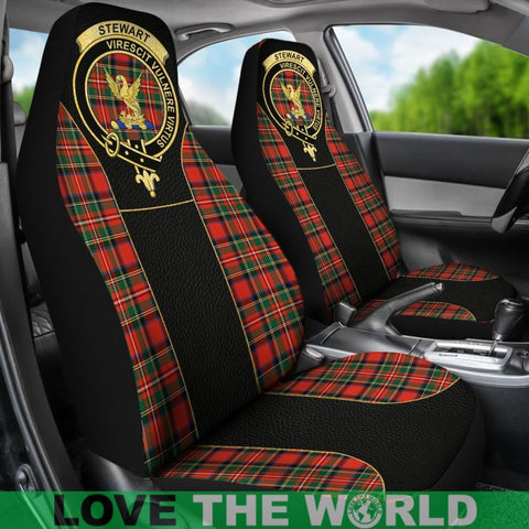 Image of Stewart Tartan Clan Badge Golden Car Seat Covers R1