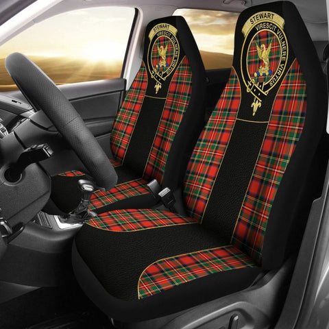 Stewart Tartan Car Seat Cover - Golden Clan Badge