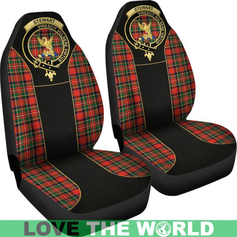 Stewart Tartan Clan Badge Golden Car Seat Covers R1