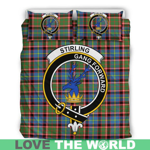 Stirling (Of Cadder-Present Chief) Tartan Clan Badge Bedding Set W8 Bedding Set - Black / Queen/full