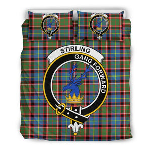 Stirling (Of Cadder-Present Chief) Clan Badge Tartan Bedding Set W8 Bedding Set - Black / Queen/full