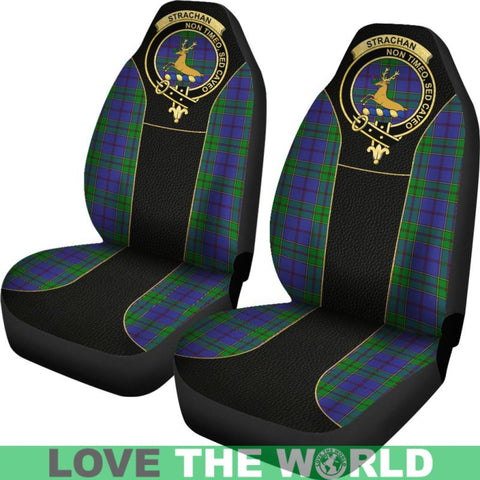 Strachan Tartan Clan Badge Golden Car Seat Covers R1