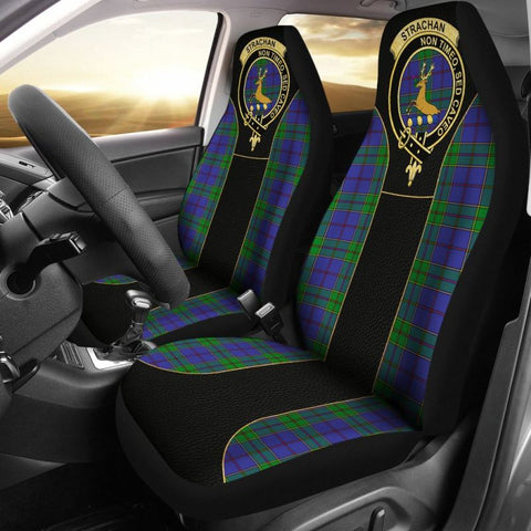 Strachan Tartan Car Seat Cover - Golden Clan Badge