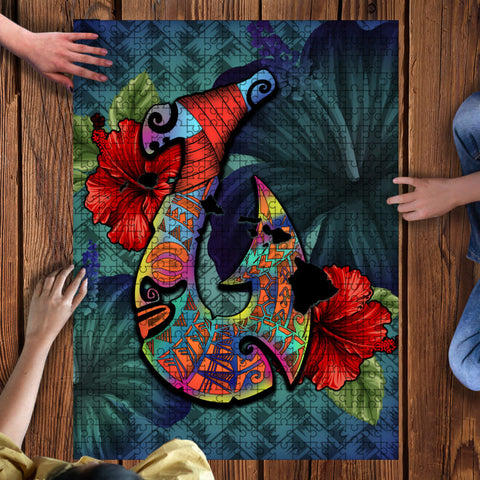Kanaka Maoli (Hawaiian) Wood Puzzle  - Shark Polynesia Compass Plumeria Blue | Love The World