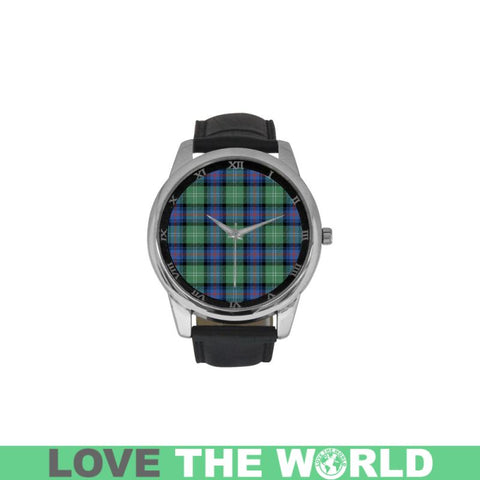 Sutherland Old Ancient Tartan Watch S7 One Size / Golden Leather Strap Watch Luxury Watches