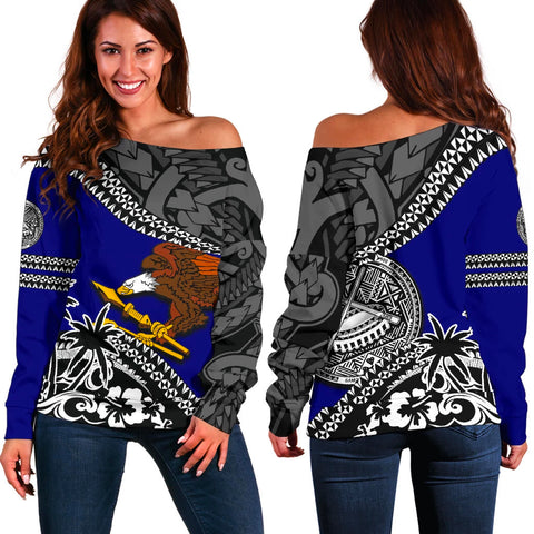 American Samoa Off Shoulder Sweater Fall In The Wave 1