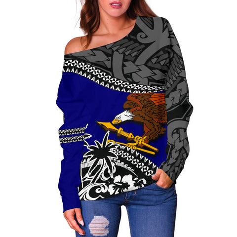 American Samoa Off Shoulder Sweater Fall In The Wave 2
