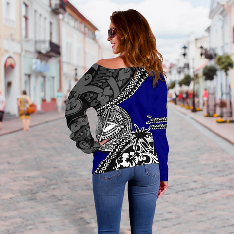 American Samoa Off Shoulder Sweater Fall In The Wave 3