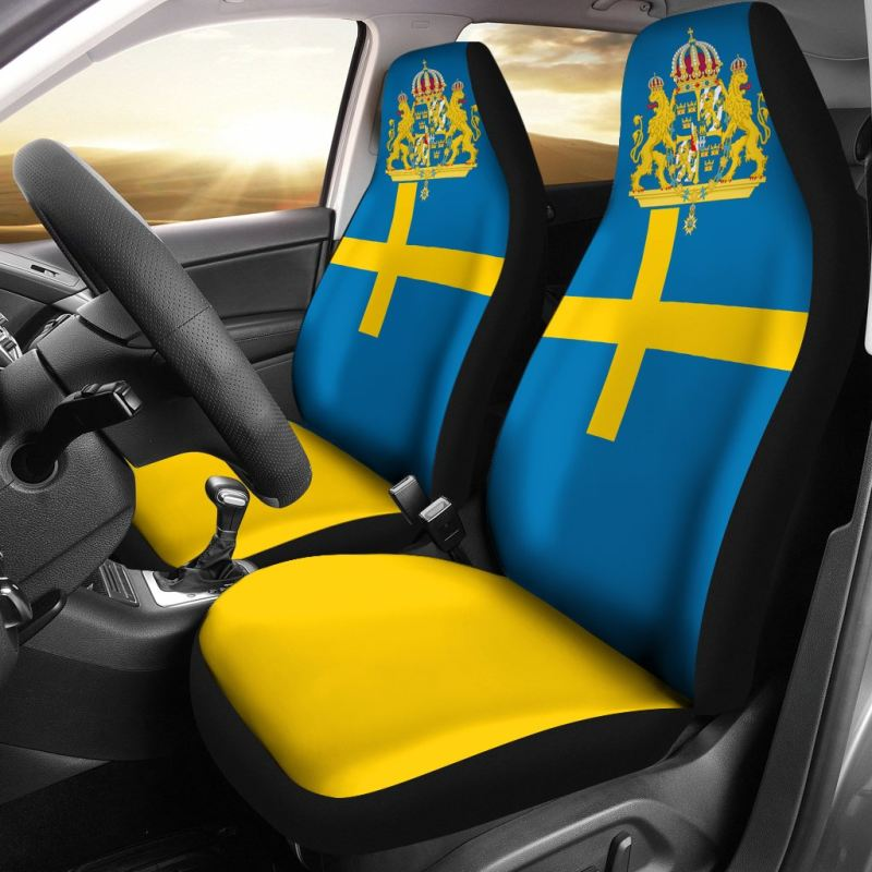 Sweden Flag And Coat Of Arms Car Seat Covers