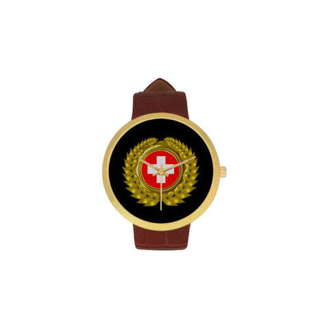 Swiss Flag Watch C1 One Size / Womens Golden Leather Strap Watch(Model 212) Luxury Watches