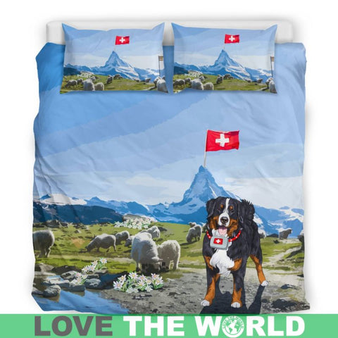 Image of Switzerland Bedding Set - Swiss Bernese Mountain Dog And Edelweiss - Bernese Mountain Dog - Edelweiss - Switzerland Flag - Matterhorn - Bernese Dog