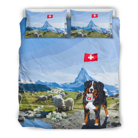 Switzerland Bedding Set - Swiss Bernese Mountain Dog And Edelweiss - Bernese Mountain Dog - Edelweiss - Switzerland Flag - Matterhorn - Bernese Dog