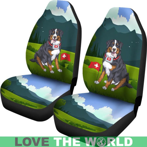 Image of Switzerland Car Seat Covers - Swiss Bernese Mountain Dog - Bernese Dog - Swiss Dog - Switzerland Flag - Swiss Car Seat Covers - Switzerland Symbols