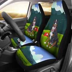 Switzerland Car Seat Covers - Swiss Bernese Mountain Dog - Bernese Mountain Dog - Swiss Dog - Switzerland Flag