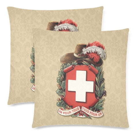 Switzerland Coat Of Arms Pillow Case A2 One Size / Pillow Sw Custom Zippered Pillow Cases 18X 18