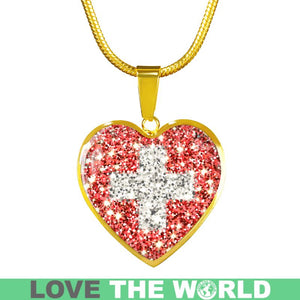 Switzerland  Flag Sparkling Heart-Shaped  ( Necklace/Bangle) A1