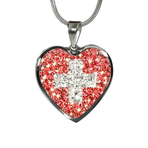 Switzerland Flag Sparkling Heart ( Necklace And Bangle ) A1 Luxury Necklace (Silver) Jewelries