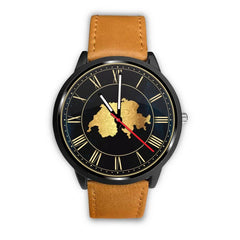 Switzerland Map Leather/steel Watch S12 Mens 40Mm / Brown Leather-Steel Watches