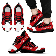 Switzerland Mens/womens Sneakers Nn7 Mens Sneakers - Black Mens Th7 Black / Us5 (Eu38). Swiss Alps shoes, Switzerland shoes, Switzerland flag shoes.