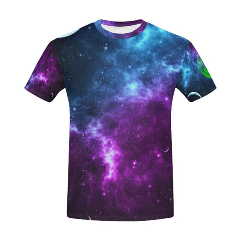 Image of T-Shirt Galaxy 1Sttheworld Logo S / 1St The World Text All Over Print T-Shirt For Men (Usa Size)