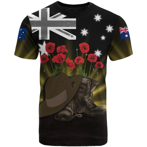 Australia Anzac Day T-Shirt - Lest We Forget Hat And Boots Poppies | Love The World