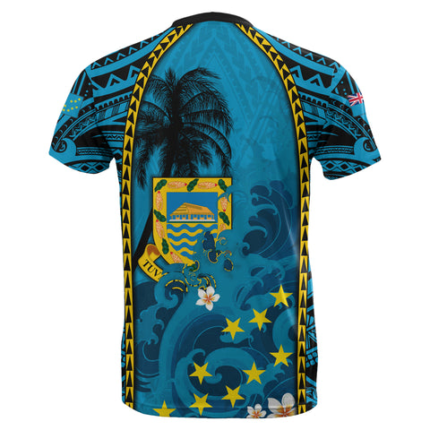 Image of Tuvalu T-Shirt Coat Of Arms Polynesian With Hibiscus And Waves TH65