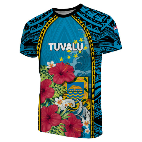 Tuvalu T-Shirt Coat Of Arms Polynesian With Hibiscus And Waves