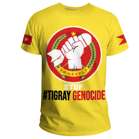 1stTheWorld Tigray T-shirt, # Tigray Genocide Flag T.P.L.F A10
