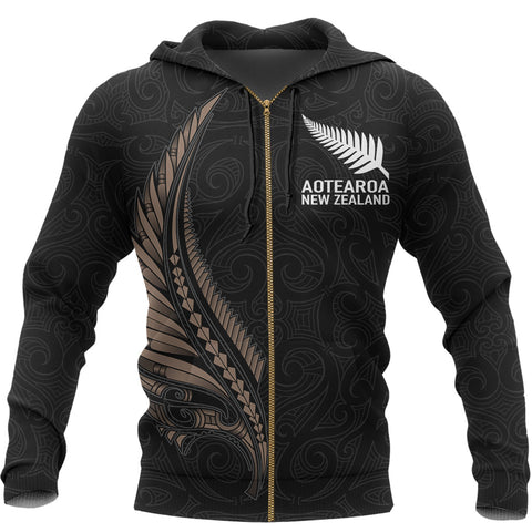 Image of Aotearoa New Zealand - Maori Fern Tattoo Zipper Hoodie A7