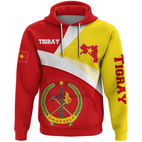 1stTheWorld Tigray Hoodie, Tigray Flag Maps Red Custom A10