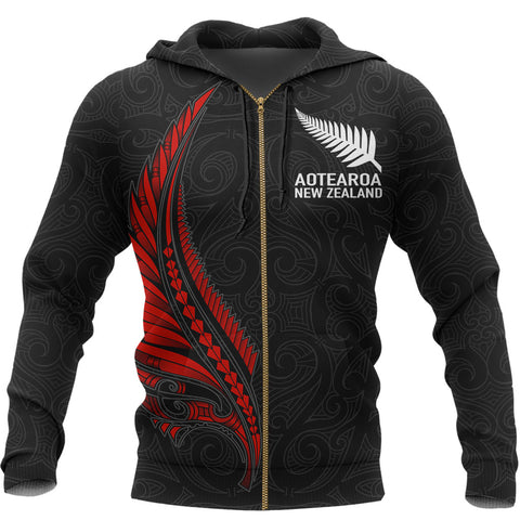 Image of Aotearoa New Zealand - Maori Fern Tattoo Zipper Hoodie - Red A7