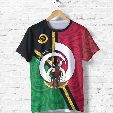 Image of Vanuatu Flag Design T Shirts - Front