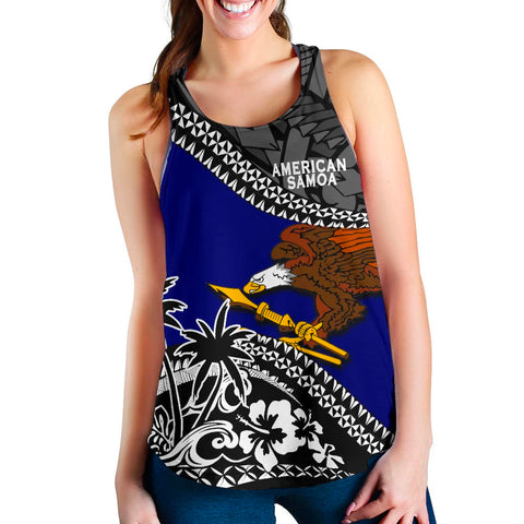 American Samoa Women Racerback Tank Fall In The Wave 1