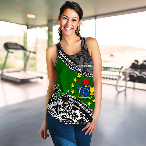 Cook Islands Women Racerback Tank Fall In The Wave 4