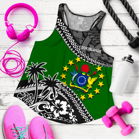 Cook Islands Women Racerback Tank Fall In The Wave 5