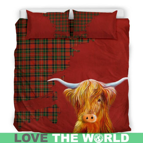 Image of Tartan Scottish Highland Cow Bedding Set H4 Bedding Set - Black Scotland / Queen/full Sets