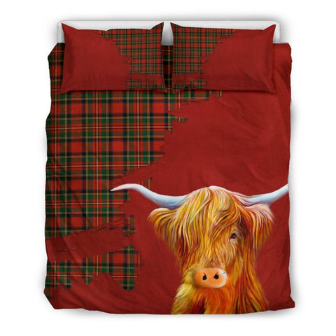 Tartan Scottish Highland Cow Bedding Set H4 Bedding Set - Black Scotland / Queen/full Sets