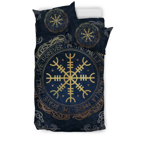 The Helm Of Awe, viking bedding set, viking duvet cover, helm of awe circle
