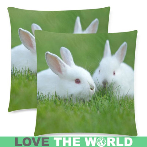 The Netherlands Dwarf Rabbits Pillow Case A4 One Size / White-Rabbits Custom Zippered Pillow Case