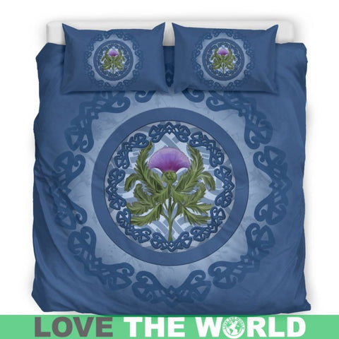 Image of Thistle Scottish Luxury Blue Bedding Set - Bn01 Bedding Set Black Thistle Black / Twin Sets