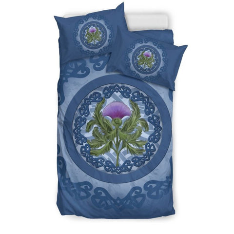 Thistle Scottish Luxury Blue Bedding Set - Bn01 Bedding Set Black Thistle Black / Twin Sets