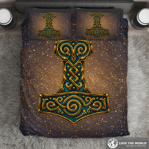 Viking Bedding Set - Mjolnir Of Thor | Special Custom Design