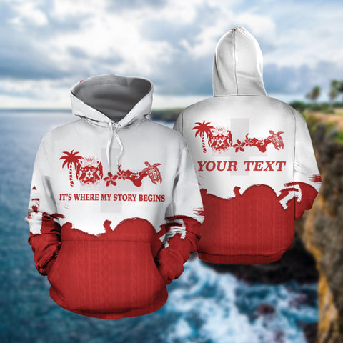 Tonga Where My Story Begins Hoodie with Red mix White color - Front and Back - For Men and Women