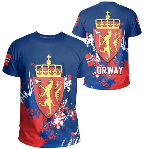 Norway Coat Of Arms T-Shirt Spaint Style