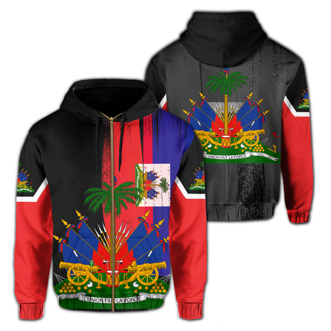 Haiti Flag Coat Of Arm Hoodie (Zip-up)