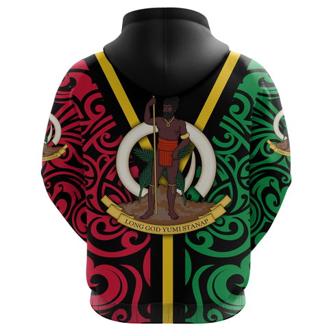 Vanuatu Flag Zip Up Hoodie Melanesian Warrior back | Clothing | Love The World